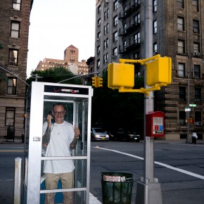 Terry Richardson in an old phone booth.